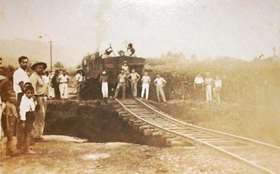 Conservação da estação em Palmeira, localidade de Orleães.