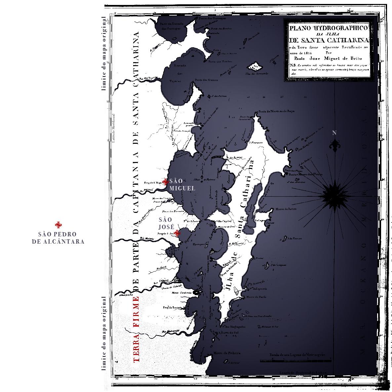 """Mapa. """"Plano Hidrográfico da Ilha de Santa Catharina e da terra firme adjacente."""" 1814, Paulo Joze Miguel de Brito. Colorido por HelgaLabs."""