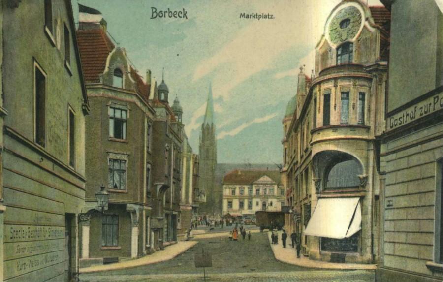 Borbeck Marktstraße, ca. 1910. Cartão postal da época.
