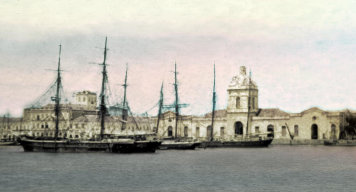 Porto velho de Rio Grande, 1889. Autor desconhecido. Imagem disponibilizada por Fotos Antigas do RS (vide fontes). Editada por Helga.