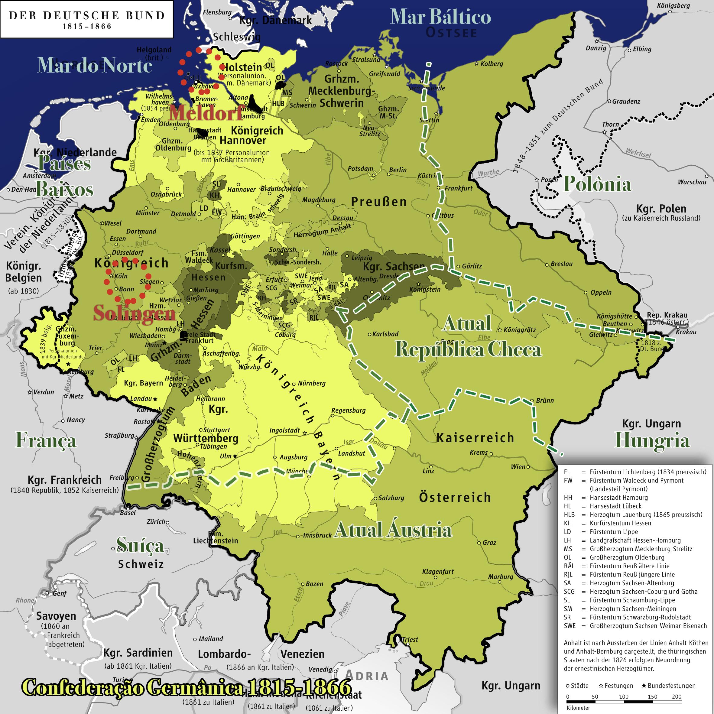 A Confederação Germânica no período quando nasceram os pais de Henriqueta. Ele, em Meldorf, partindo para o Rio Grande do Sul em 1872. Ela, em Solingen, partindo para o Rio Grande do Sul em 1858.