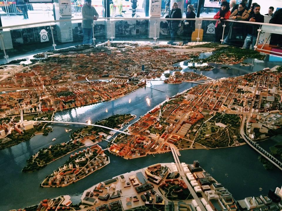 Maquete de Estocolmo, exposta na Kulturhuset.
