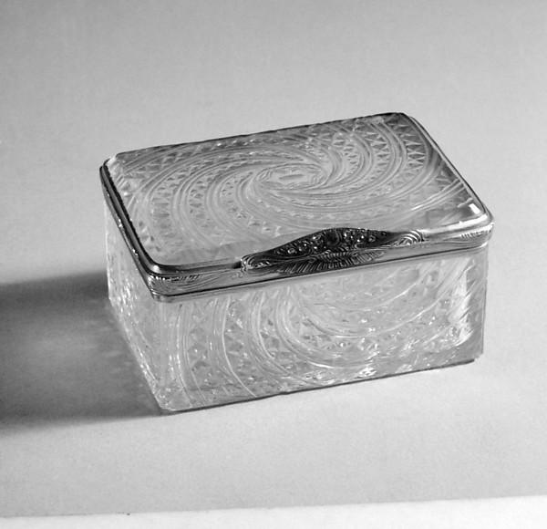 Caixa de rapé de cristal de rocha,