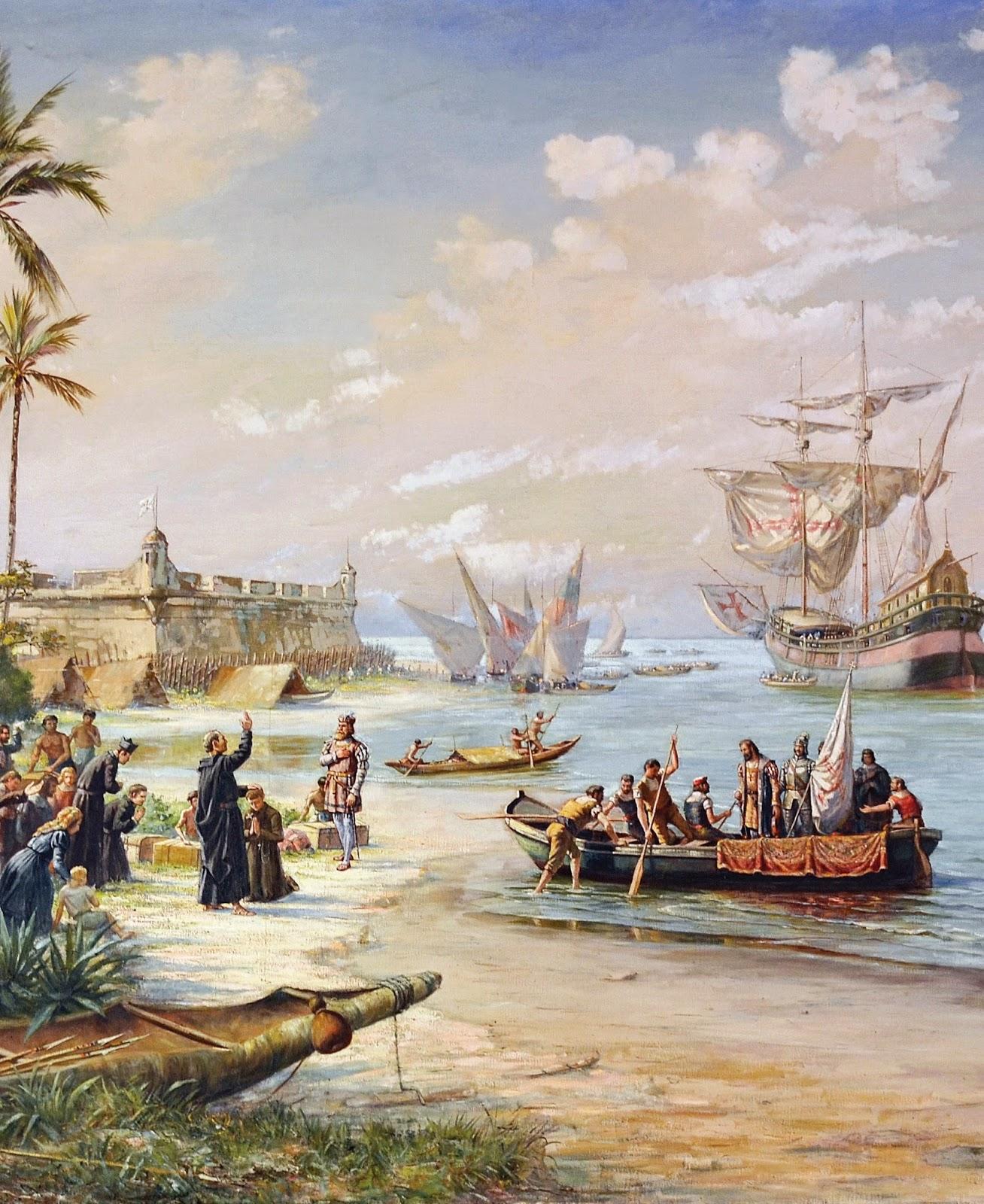 Partida de Estácio de Sá (rumo à fundação do Rio de Janeiro). Pintura de Benedito Calixto.